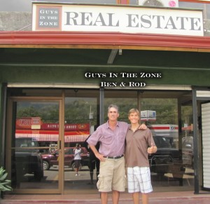 Ben and Rod in front of their new real estate office in Uvita Costa Rica town center.
