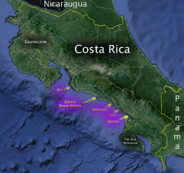 Virtual Flyover Map of Costa Rica's Pacific side.