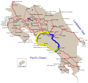 Map comparing coastal and central routes